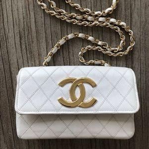 Chanel White Mini Flap Vintage Bag Crossbody